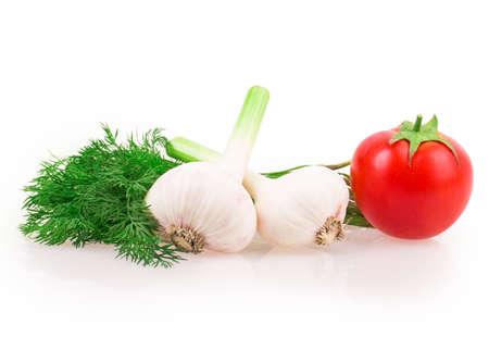 garlic, tomato, dill isolated on white background photo