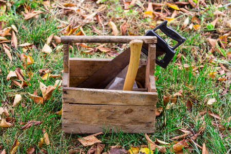 wooden box tools in the grass photo