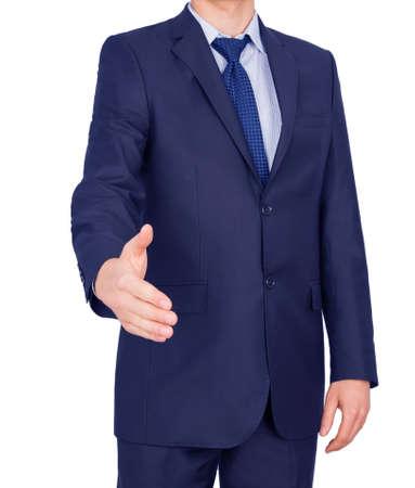 handshake man suit isolated on white background Stock Photo - 23363264