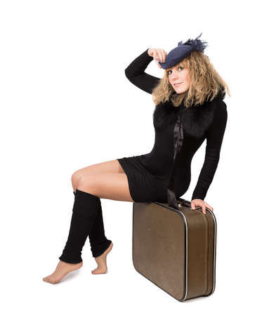 femme valise: femme valise isol� sur fond blanc