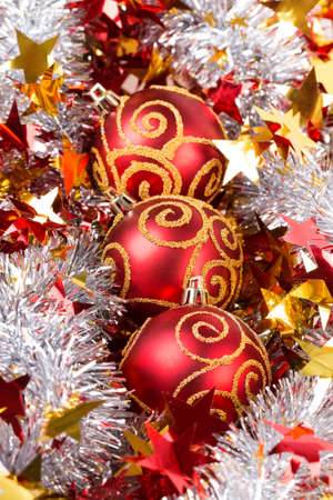 silver Tinsel red Christmas ball  photo