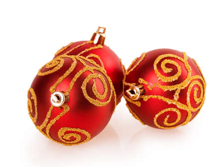 red Christmas balls with pattern Stock Photo