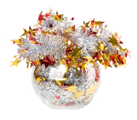 Tinsel silver with red stars photo