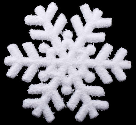 snowflake isolated on black background photo
