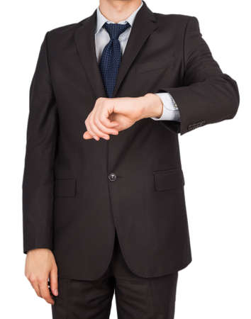 man suit hand watches Isolated on white  photo