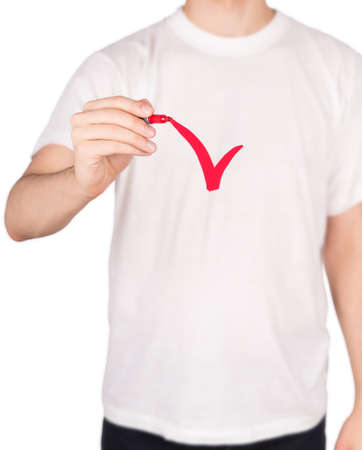 man T-shirt marker Isolated on white background photo