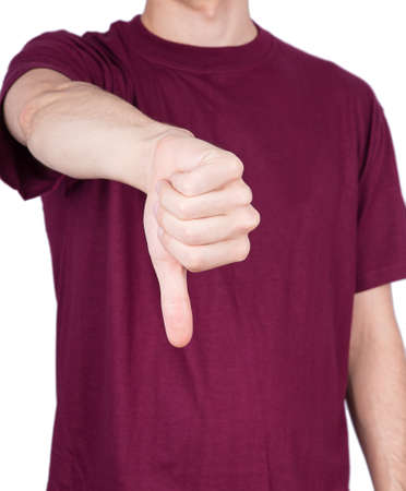 man T-shirt thumbs down Isolated on white background photo
