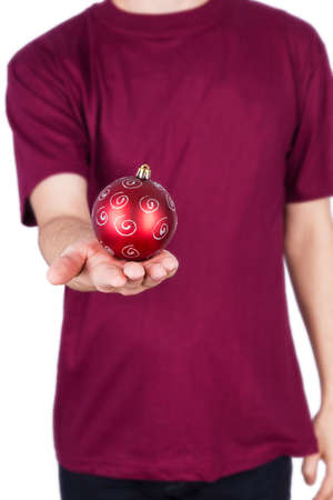 man T-shirt Christmas ball Isolated on white background photo