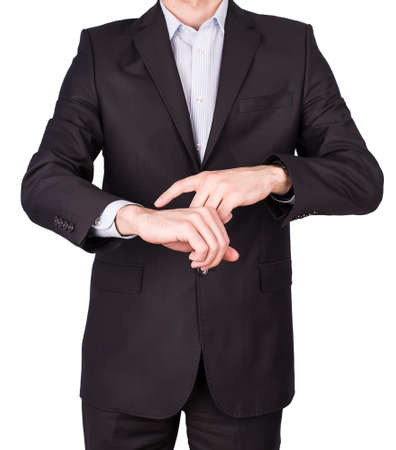man suit hand watches Isolated on white background photo