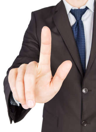 man suit finger touch Isolated on white background photo
