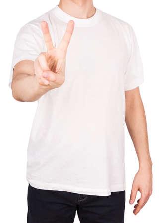 man T-shirt peace Isolated on white  photo