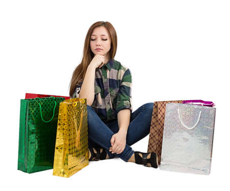 woman Packages buying gifts isolated on white background photo