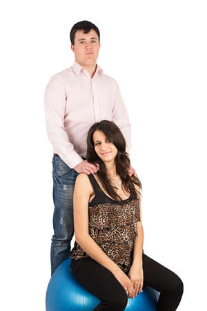 husband wife: husband, wife, pregnant isolated on white background Stock Photo