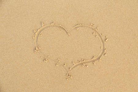 beach sand sea heart sign photo