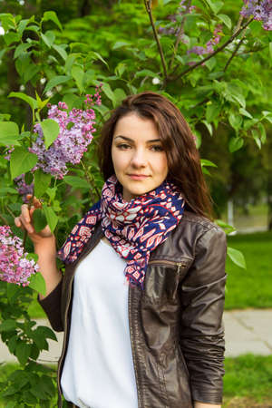 lilac girl in the park photo