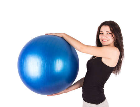 woman aerobics ball Isolated on white background photo