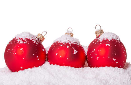 Three Christmas ball snow Isolated on white background