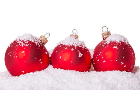 Drie kerst bal sneeuw geïsoleerd op witte achtergrond Stockfoto