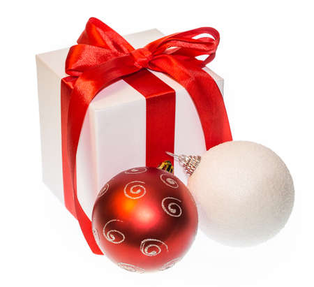 shiny christmas baubles: gift box bow Christmas ball Isolated on white background