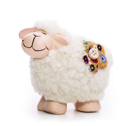 toy sheep Isolated on white background photo