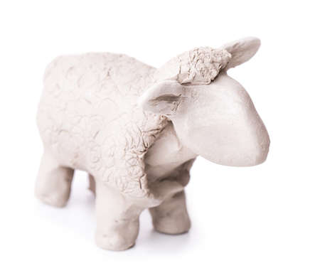 sheep toy clay Isolated on white background photo