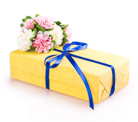 flowers gift box yellow blue Isolated on white background photo