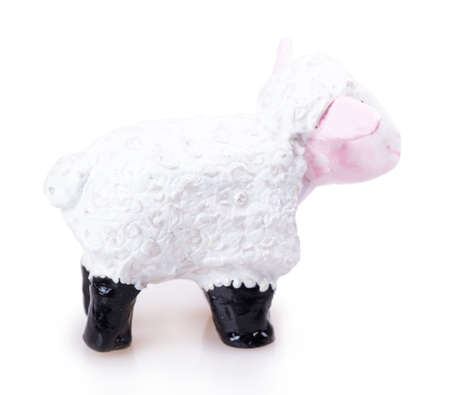 sheep toy Isolated on white background photo