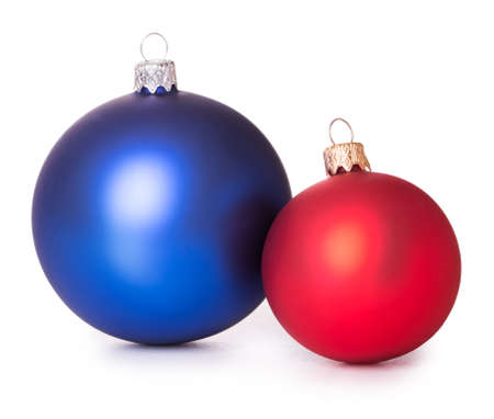 and of blue: two red blue Christmas balls Isolated on white background Stock Photo