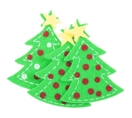 papercraft: sticker Christmas tree Isolated on white background