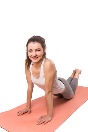 woman aerobics mat isolated on white background photo