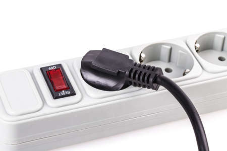 the surge: surge protector plug Isolated on white background Stock Photo