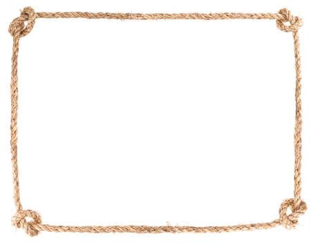 白い背景の上ロープの結び目フレーム solated 写真素材