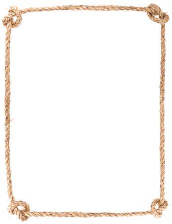 touw knoop frame geïsoleerd op witte achtergrond Stockfoto