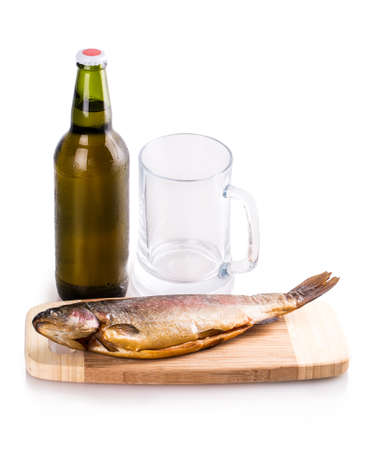 smoked fish glass bottle beer Isolated on white background photo