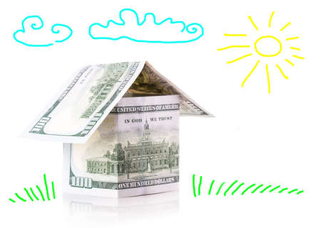 dollars house Isolated on white background photo