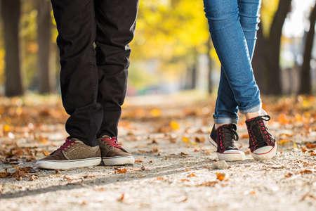 man woman leg couple love feelings Standard-Bild