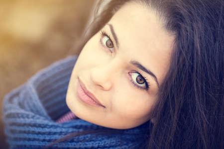 beautiful brunette: beautiful brunette woman portrait blue scarf Stock Photo