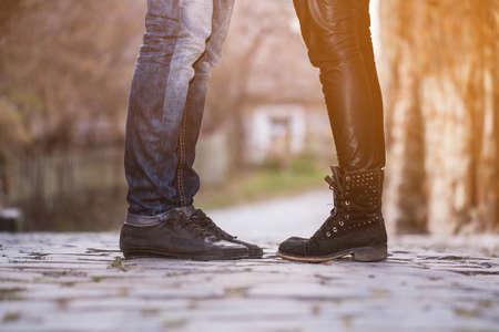 man woman couple feet romance Stock Photo