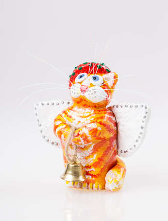 cat goddess: cat statue wings Isolated on white background Stock Photo