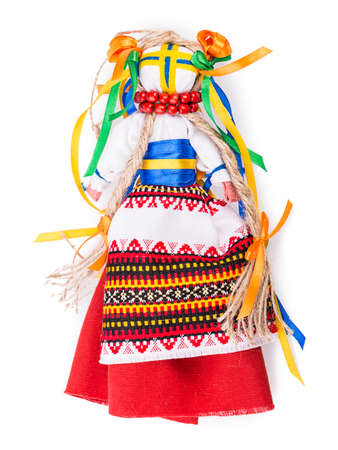 Ukrainian traditional doll Isolated on white background photo