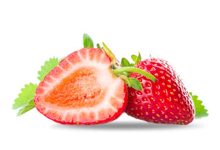 two and a half: two half strawberry slice Isolated on white background