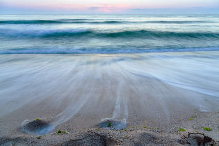 beach landscape: beach sand morning sea waves landscape
