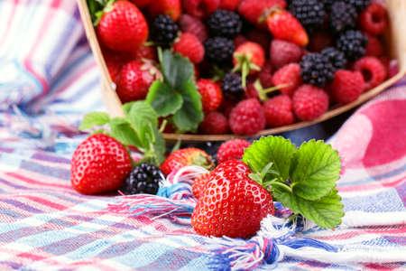 squared: blackberry strawberry napkin napkin squared Stock Photo