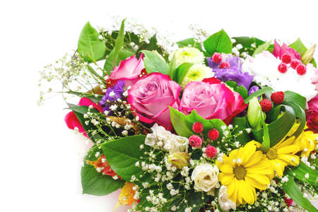 bouquet fleurs: bouquet de fleurs isol� sur fond blanc Banque d'images
