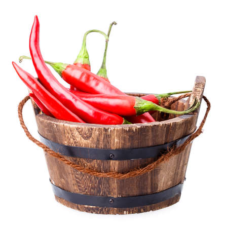 chili peppers: chili pepper bucket Isolated on white background