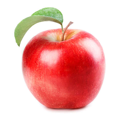 manzana roja: rojo manzana aislada en el fondo blanco Foto de archivo