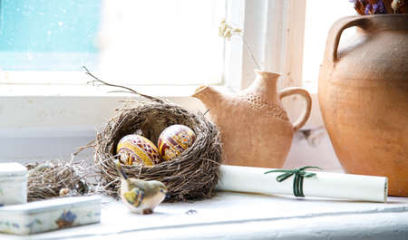 ollas de barro: Nest egg Easter Still clay pots