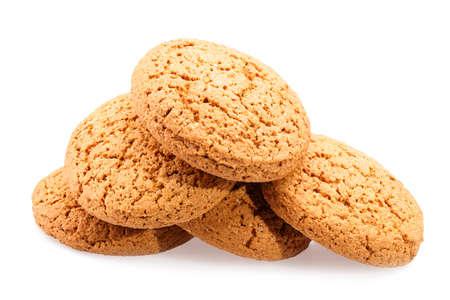galletas: Galletas de avena aislados en fondo blanco