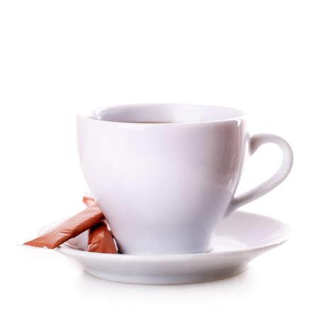 black coffee: white mug tea coffee Isolated on white background Stock Photo