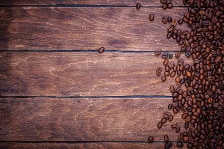 coffee table: coffee beans wooden background table